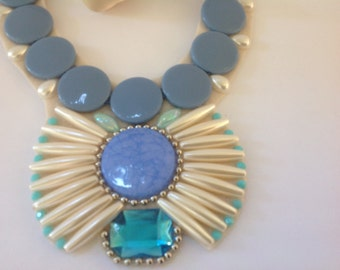 Periwinkle and White Fanned Statement Necklace