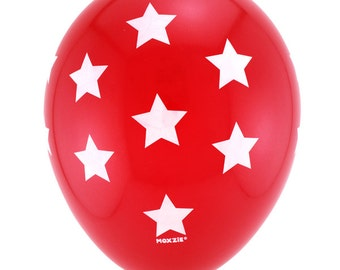 11inch Red Balloons with White Stars