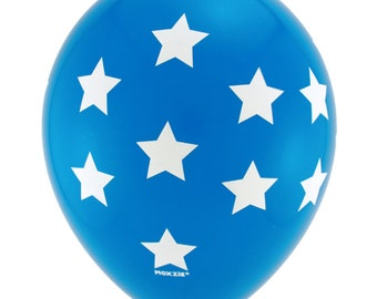 Blue latex balloons with White Stars