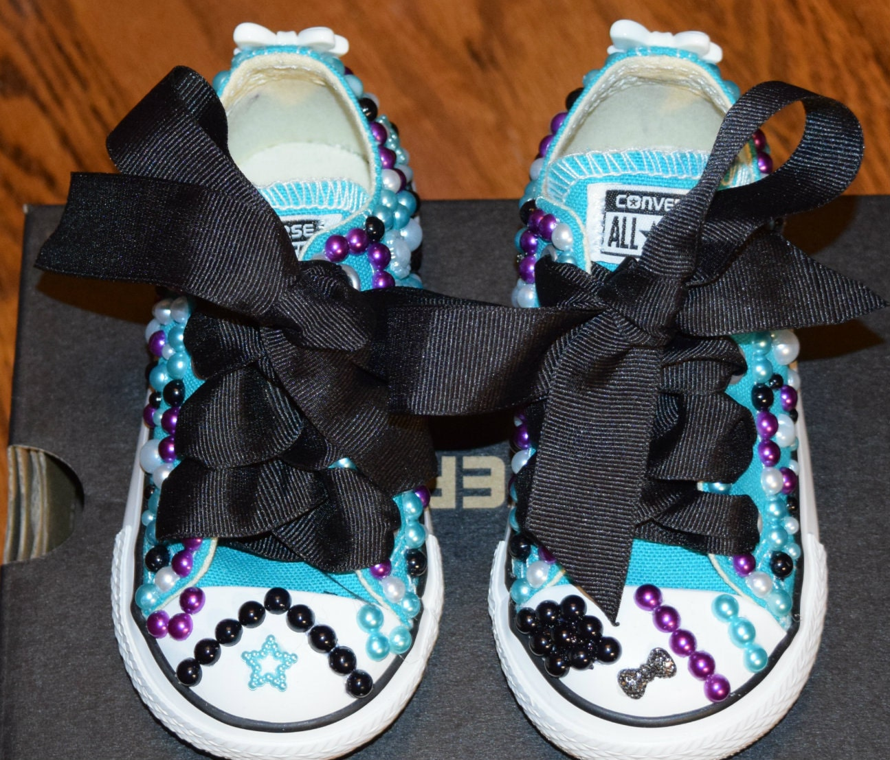 Teal Purple Black Bling Pearl Toddler Girls Size 6 Converse