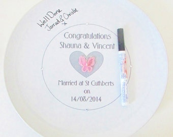 Personalised wedding guestbook plate