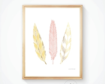 Feathers print GOLD FEATHER art print, 8x10,12x16 Gold digital print Feathers printable Wall art print Home decor print, Printable wall art