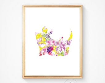 Rhino print, rhino art, rhino head print. African animal wall print, Rhinoceros print, animal head, watercolour animal print, Africa art