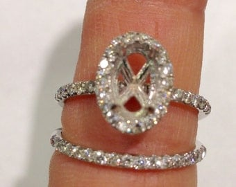 White Gold Diamond Halo Semi Mount - Low Ring Setting Engagement Ring with Matching Wedding Band Bridal Ring Set