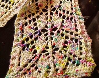 Scarf, Lace Scarf, Knit, Leaf Lace, Confetti, Womens, Multi Color on Cream
