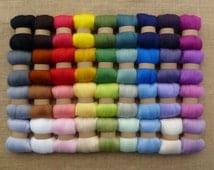 Needle felting wool - 36 mixed colours (very soft) - needle felting yarn - merino wool - felting - roving - wet felting - nuno - merino tops
