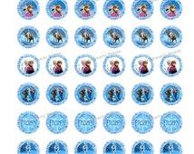 Frozen 1 inch Round - Digital Dowload - Frozen Bottle Caps - Frozen Sticker - Frozen Party
