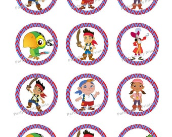Jake and Pirates 2 inch Round - Digital Download - Cupcake Topper - Sticker - Jake and Pirates Party
