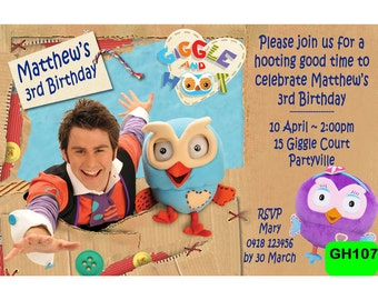 Giggle and Hoot Invitation - Digital Personalized Invite - Giggle and Hoot Party Invite