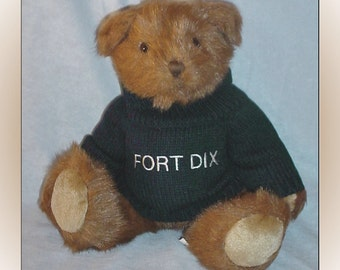Teddy Bear with Fort Dix NJ Sweater Vintage Plush