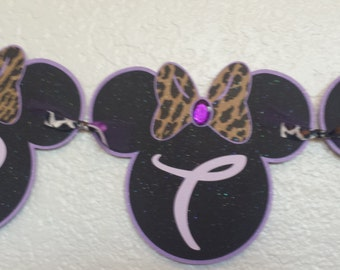 Purple and Leopard with rhinestones Minnie Mouse Happy Birthday Banner, Glittery Purple n leopard