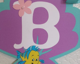 Little Mermaid Happy Birthday Banner Only, Party Birthday Banner, Little Mermaid Party Decoration Little Mermaid with sea shell