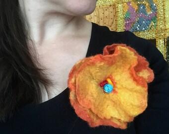 Wool felted flower, Orange felted flower brooch, flower pin brooch