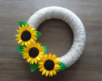 Fall Felt Wreath, Sunflower Wreath, Fall Flower Wreath, Felt Flower Wreath