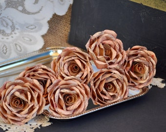Vintage Book Page Roses ~Red