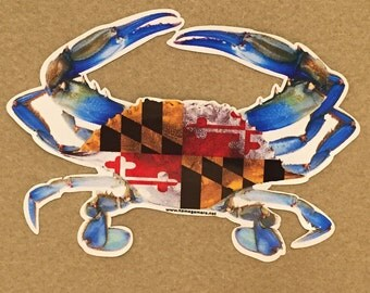 Maryland BLUE Crab Vinyl Window Decal - 3 sizes available