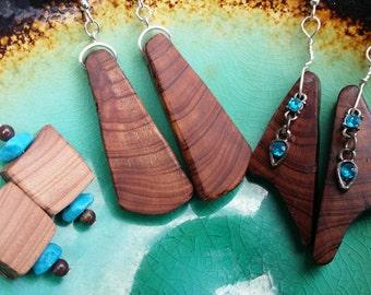 "2"" ""Wood Nymph"" Handmade Hand Carved Cedar Beaded Earrings"