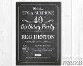 Chalk Board SURPRISE 40th Birthday Invitation ANY AGE 50th 60th 70th 80th Invite Party Instant Download Printable Personalize Adult Man Male
