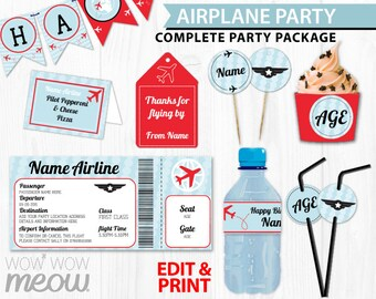 AIRPLANE Plane Birthday Party Package Invitations & Decorations Full Printable Collection INSTANT DOWNLOAD + Editable Text Personalize @Home