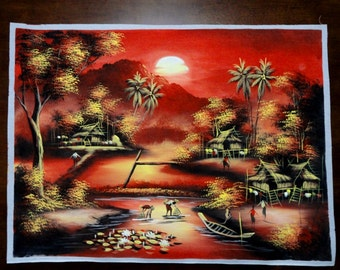 Original Art Watercolor Hand painted Thai landscape Thailand Famous Artist A-24