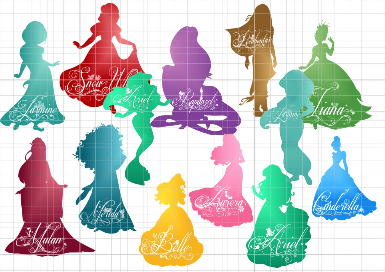 Disney Princesses silhouettes clipart PNG Digital Clip Art