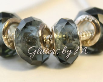 Dark Gray Glass Faceted Large Hole Bead for European Style Charm Bracelets