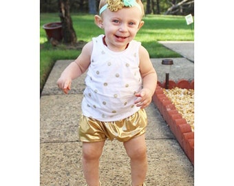 Gold or Silver Baby Bubble Shorts - Baby Bloomers