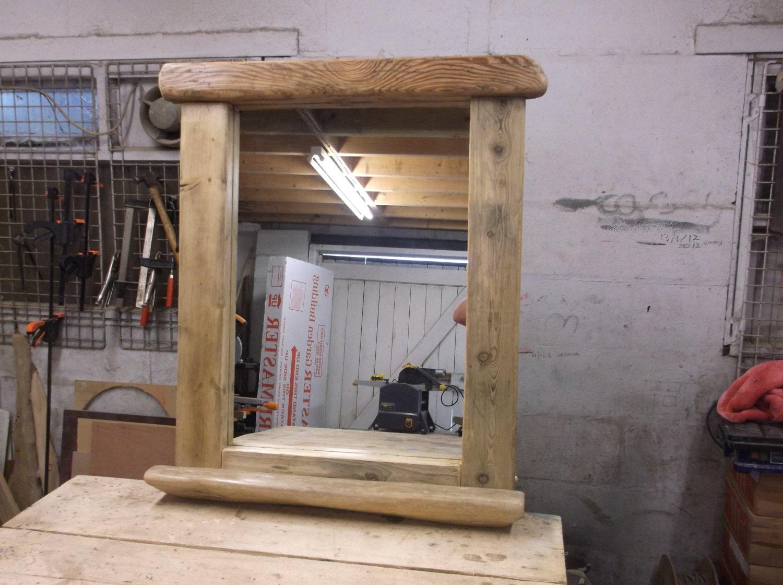 Miroir bois flott grande avec tag re par tomorrowstide for Etagere bois flotte