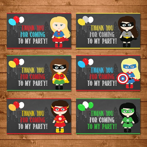 Girl Superheroes Party Tags Chalkboard --  Girl Superheroes Party Tags -- Girl Superheroes Party Favors -- Superheroes Printables