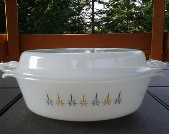 Vintage Oval Fire King Anchor Hocking Casserole Dish Candle Glow Pattern