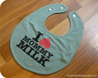 Funny Boobie Breastfeeding Baby Bib, I Love Mommy Milk Recycled T-shirt Baby Bib