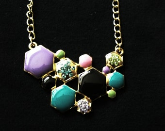 Hexagon Cluster Statement Necklace FREE SHIPPING