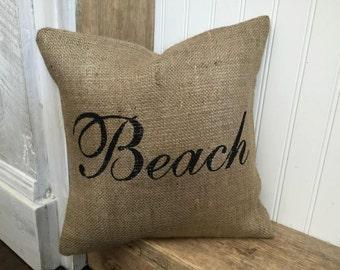 Beach Pillow, Burlap Pillow, Rustic Decor, Decorative Pillow