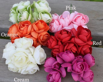 Bunch of 6 - Millinery Wired Artificial Flower Bunch Silk Rose Flower Bridal Hair Accessories Crown,Wedding Home Decoration