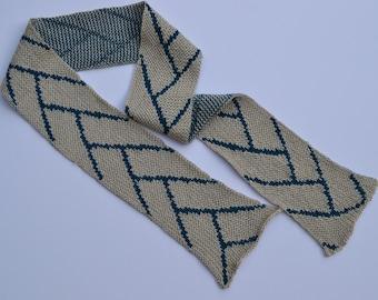 Knit Silk Scarf with Skate Ski Tracks Pattern
