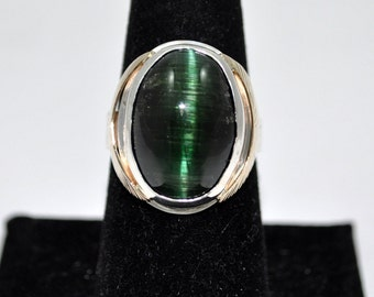 14kt Yellow Gold and Sterling Silver Cats Eye Green Tourmaline Ring