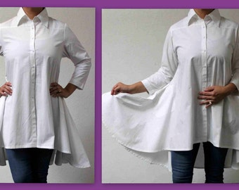 Boho, Country, Western all Cotton Designer Hi Lo Plus Size and Regular size shirt. 1XL,2XL,3XL