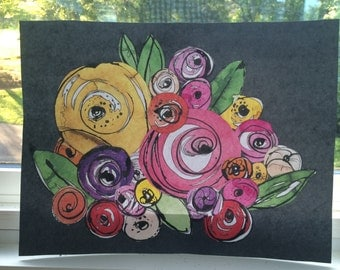 Flower Collage on Cardstock PRINT 11x14