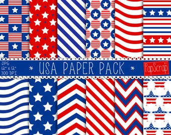 "USA digital paper : ""USA Paper Pack""  red white and blue digital paper pack, flag US Independence Day digital graphics , 4th July"
