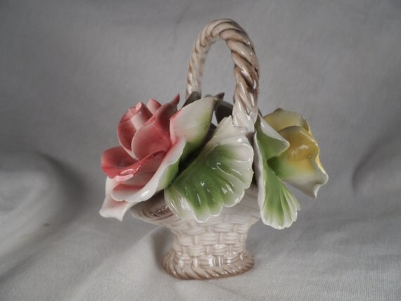 Pink and Yellow Roses In a Basket-Capodimonte Floewr Basket Made in Italy