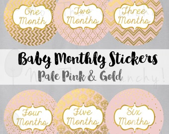 Baby Monthly Growth Stickers - Milestone Bodysuit Stickers - Pale Pink and Gold Photo Stickers - Pink Baby Month Stickers - Baby Shower Gift