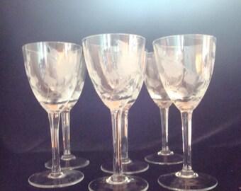 Vintage etched crystal glasses - set of six