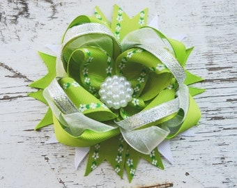 Green Girls Hair Bow Big  Hair bow Boutique hair bows Baby Girls Extra Large Hair Bow Stacked hair bow Childrens Hair Bows