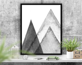 Abstract Art Print Wall Decor, Mountains Poster, Home Decor, Instant Download Printable Art, Grey Decor, Typography Poster, Scandi Poster