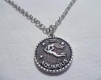 Aquarius necklace,zodiac necklace,star sign,pendant,horoscope,zodiac jewellery,gift,silver necklace,birthday gift