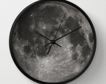 Moon Clock, Modern Wall Clock, Modern Clock, The Moon Clock, Black and white clock, modern Moon clock, modern wall clock