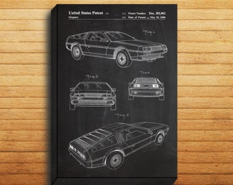 CANVAS - DeLorean Art, DeLorean Print, DeLorean Patent, DeLorean Decor, DeLorean Blueprint, DeLorean Wall Art, DeLorean Automobile, DeLorean