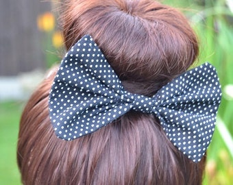 Black Polka Dot Hair Bow, Black Hair Bow, Hair Clip, Ladies Hair Clip, Black and White Hair Bow, Hair Accessories, Fabric Hair Bow, Hair Bow