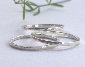 Hammered,  Silver Stacking Rings.