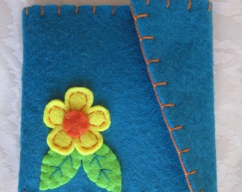 Coin Purse with flower and leaves - Felt coin purse - Felt Wallet - Christmas Gift - Back to school